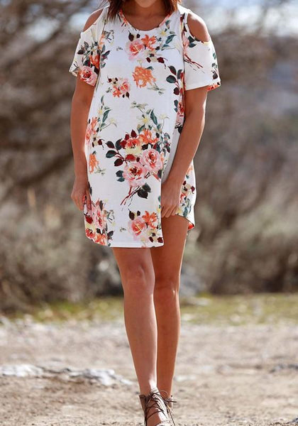 Casual White Floral Draped Cut Out Off Shoulder Round Neck Mini Dress