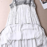 ByChicStyle Casual White Floral Hollow-out Zipper Sleeveless National Mini Dress