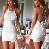 ByChicStyle Casual White Floral Lace Condole Belt Tie Back Mini Dress