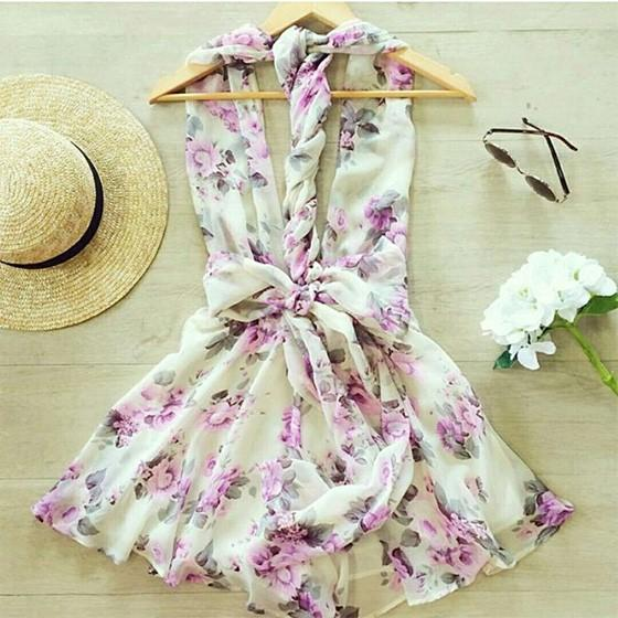 Casual White Floral Pleated Belt Cut Out Round Neck Mini Dress