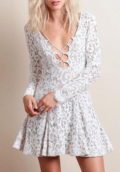 Casual White Floral Pleated Lace Cut Out Long Sleeve Mini Dress