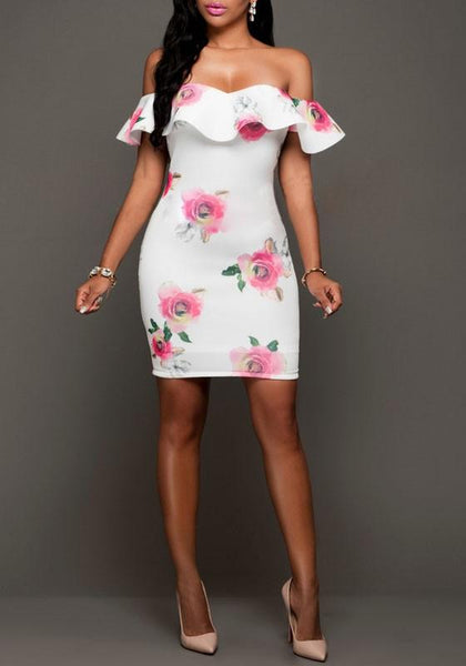 Casual White Floral Print Ruffle Boat Neck Backless Prom Evening Party Mini Dress