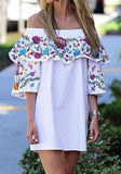 ByChicStyle Casual White Floral Print Ruffle Off Shoulder Boat Neck Mini Dress