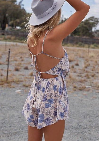 Casual White Floral Print Tie Back Off Shoulder Backless Mini Dress