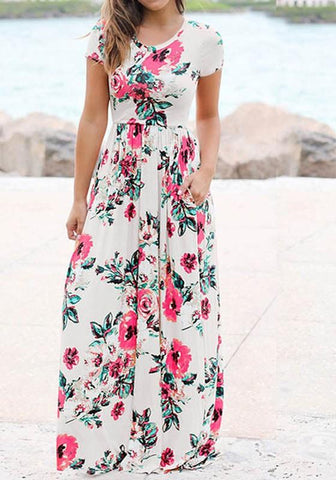 Casual White Floral Round Neck Draped Short Sleeve Floor Length Casual Maxi Dress