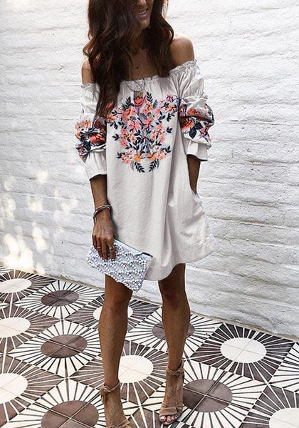 Casual White Floral Ruffle Boat Neck Long Sleeve Mini Dress