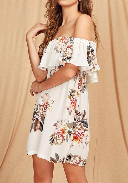 White Floral Print Bohemian Ruffle Boat Neck Backless Off Shoulder Homecoming Party Dress