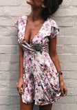 ByChicStyle Casual White Floral Zipper Irregular Plunging Neckline Mini Dress