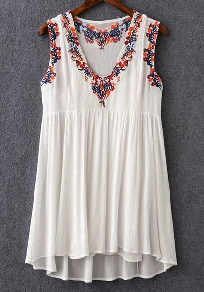 Casual White Flowers Embroidery V-neck National Cotton Blend Mini Dress