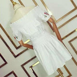 ByChicStyle White Flowers Pattern Off The Shoulder Embroidery Boat Neck Sweet Cute Cotton Mini Dress