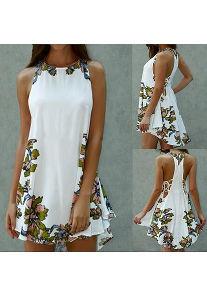 Casual White Flowers Pattern Round Neck Fashion Dacron Mini Dress