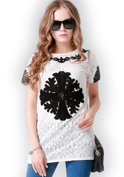 Casual White Flowers Print Above Knee Lace Dress
