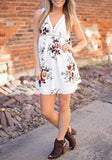 ByChicStyle Casual White Flowers Print Buttons Deep V-neck Comfy Sleeveless Mini Dress