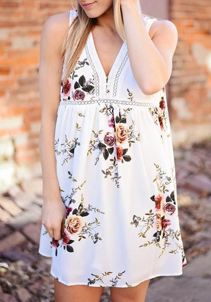 Casual White Flowers Print Buttons Deep V-neck Comfy Sleeveless Mini Dress