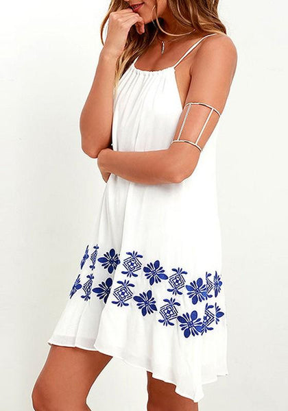 Casual White Flowers Print Draped Irregular Spaghetti Strap Chiffon Mini Dress