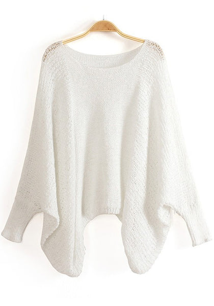 Casual White Irregular Hollow-out Bat Sleeve Blend Sweater