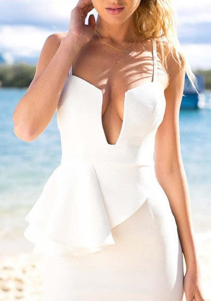 Casual White Irregular Ruffle Deep V-neck Spaghetti Strap Bodycon Party Mini Dress