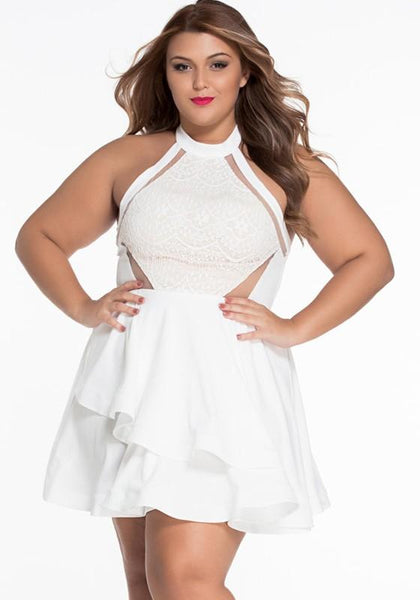 Casual White Lace Cut Out Halter Neck Irregular Layered Plus Size Elegant Mini Dress