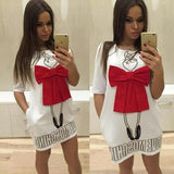 ByChicStyle Casual White Letter Print Bow Round Neck Short Sleeve Mini Dress