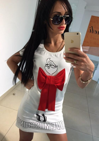 Casual White Letter Print Bow Round Neck Short Sleeve Mini Dress