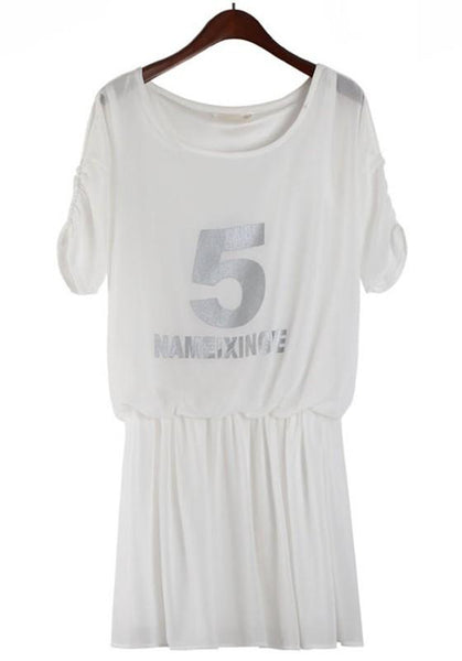 Casual White Letter Print Half Sleeve Chiffon Dress
