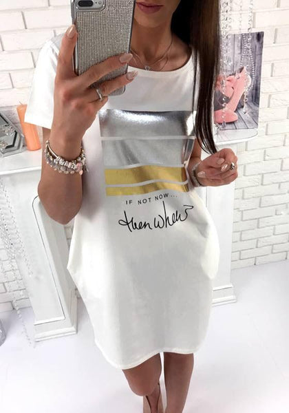 Casual White Monogram Pringt Pockets Short Sleeve Oversize Casual Mini Dress