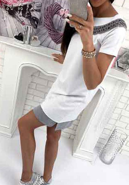 Casual White Mosaic Irregular Cut Out Casual Mini Dress