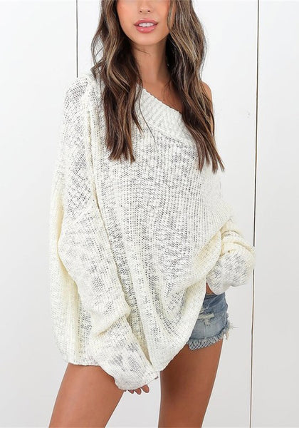 Casual White Off Shoulder Open Back Oversized Dolman Sleeve Pullover Sweater