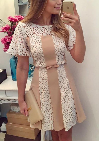 Casual White Patchwork Apricot Lace Pleated Round Neck Mini Dress