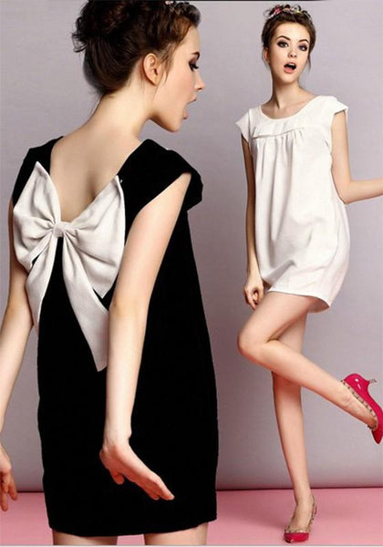 Casual White Patchwork Bow Pleated Round Neck Short Sleeve Cute Mini Dress