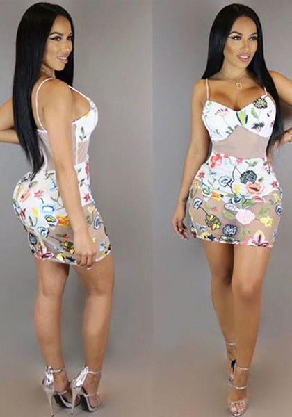 White Patchwork Grenadine Floral Print Backless Spaghetti Strap Bodycon Mini Dress