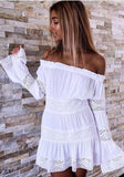 ByChicStyle Casual White Patchwork Hollow-out Lace Boat Neck Mini Dress