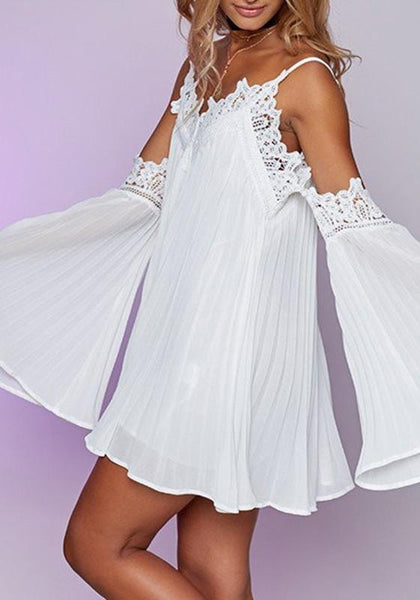 Casual White Patchwork Hollow-out Lace Condole Belt Draped Mini Dress
