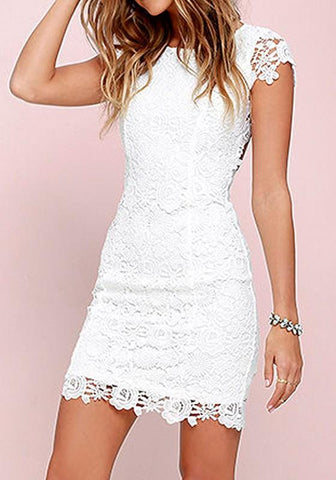 Casual White Patchwork Hollow-out Lace Zipper Backless Round Neck Mini Dress