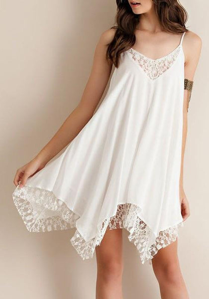 Casual White Patchwork Lace Cut Out Irregular Spaghetti Strap Mini Dress
