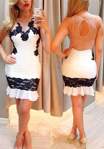 White Patchwork Lace Grenadine Backless Bodycon Homecoming Party Mini Dress