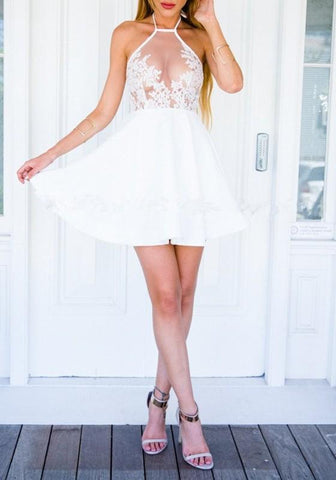 White Patchwork Lace Hollow-out Tie Back Halter Neck Mini Dress