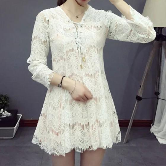 Casual White Patchwork Lace Hollow-out V-neck Dacron Mini Dress