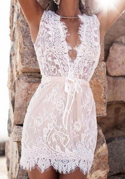 Casual White Patchwork Lace Irregular Plunging Neckline Mini Dress