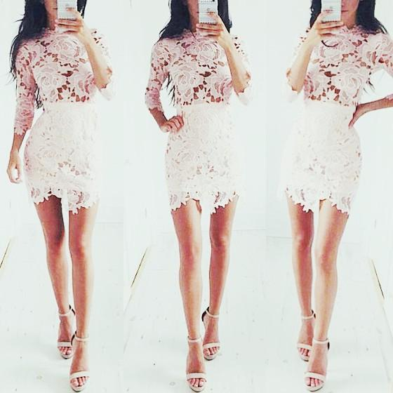 Casual White Patchwork Lace Irregular Round Neck 3/4 Sleeve Mini Dress