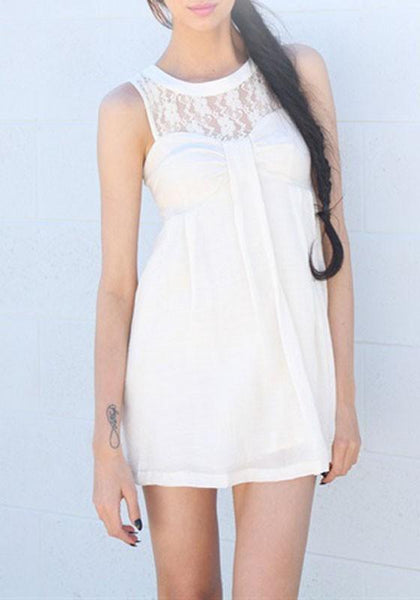 Casual White Patchwork Lace Pleated Round Neck Sleeveless Loose Cute Mini Dress