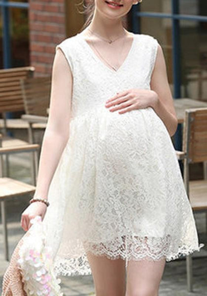 Casual White Patchwork Lace Pleated Sleeveless Elegant Mini Dress