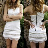 ByChicStyle Casual White Patchwork Lace Plunging Neckline Dacron Mini Dress