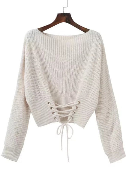 Casual White Patchwork Lace-up Cut Out Round Neck Long Sleeve Pullover Sweater