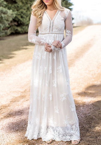d9a64c4730 Casual White Patchwork Cut Out Lace Grenadine V-neck Wedding Gowns Elegant Maxi  Dress