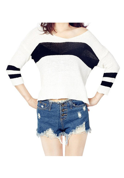 Casual White Patchwork Pattern Semicircular Fashion Knit Pullover Sweater