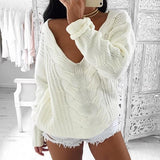 ByChicStyle Casual White Patchwork Print V-neck Long Sleeve Casual Pullover Sweater
