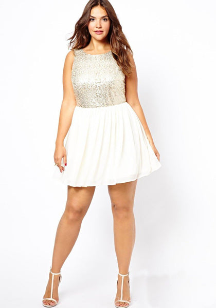 White Patchwork Sequin Pleated Backless Plus Size Homcoming Party Mini Dress