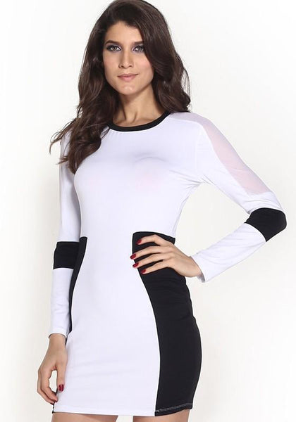 Casual White Patchwork Grenadine Bodycon Homecoming Party Skinny Dress
