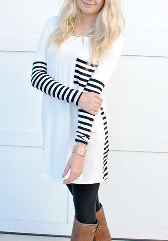 White Patchwork Striped Pockets Round Neck Long Sleeve Fall T-Shirt Casual Mini Dress